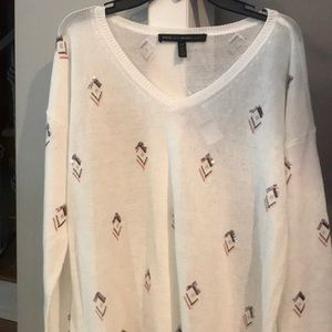 NWT WHBM Cream Sequin Embellished Sweater, Size LP